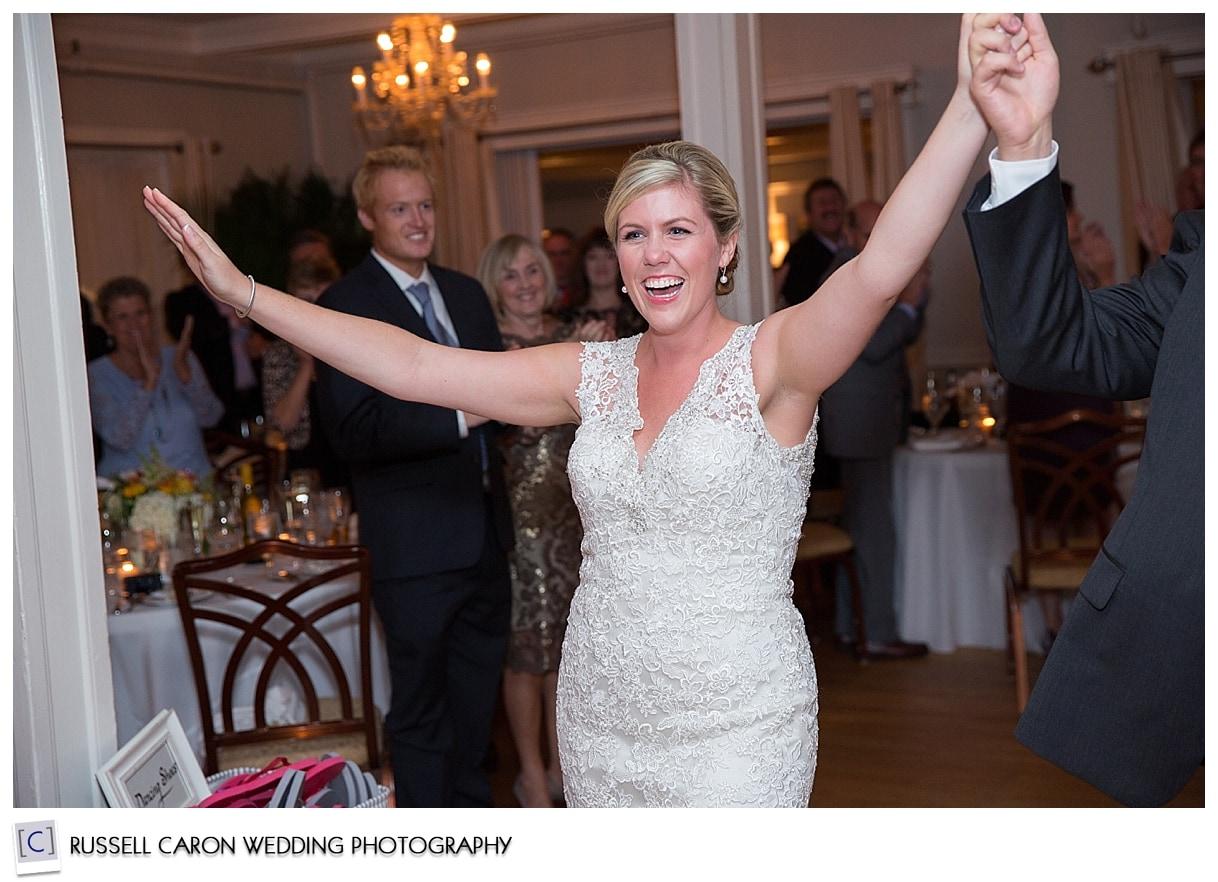 bride and groom enter nonantum wedding reception