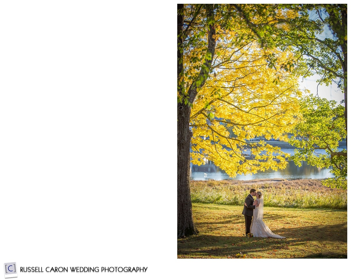 bride-and-groom-kissing-in-fall-foliage