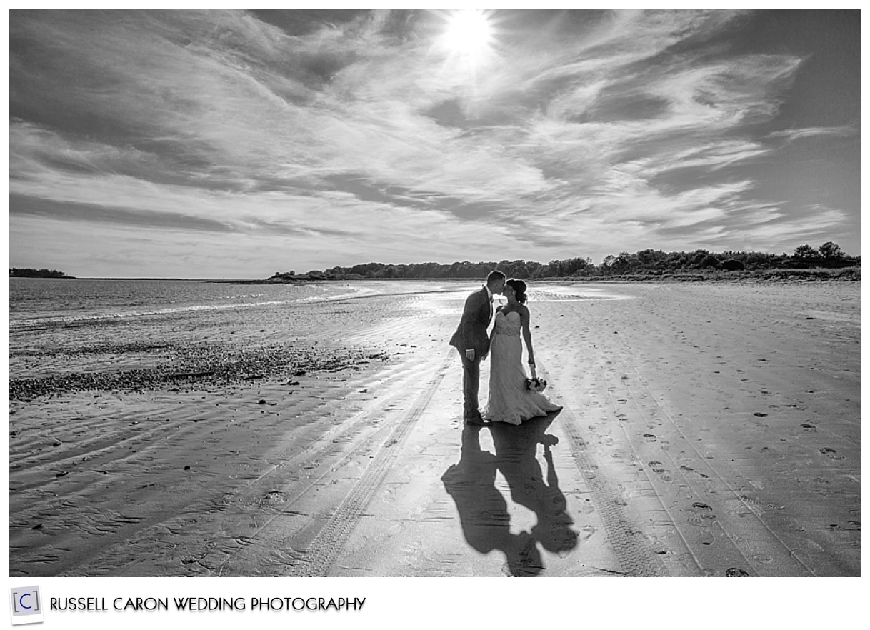 Bride and groom kissing on beach, 2015 best wedding images