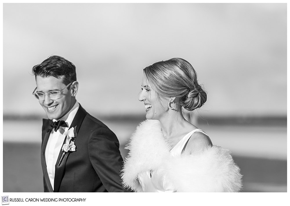 glamorous bride + groom walking on Ogunquit Beach, Ogunquit, Maine