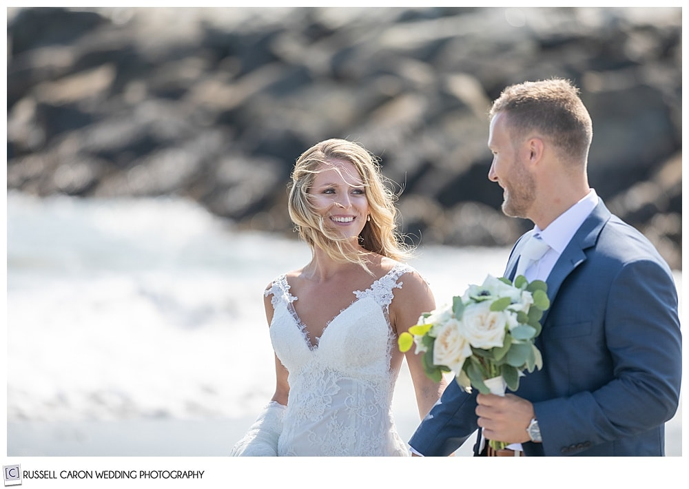 carefree bride and groom at Colony Beach in Kennebunkport, Maine