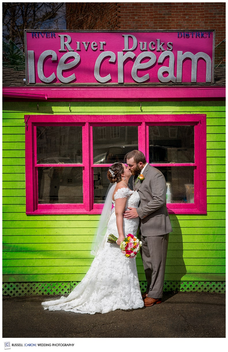 Bride and groom in front of River Ducks Ice Cream, Camden, Maine