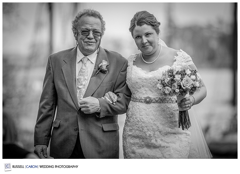 Bride and her father during processional at Camden Maine Amphitheater