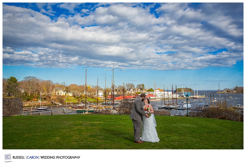 Bride and groom overlooking Camden Harbor, Camden, Maine