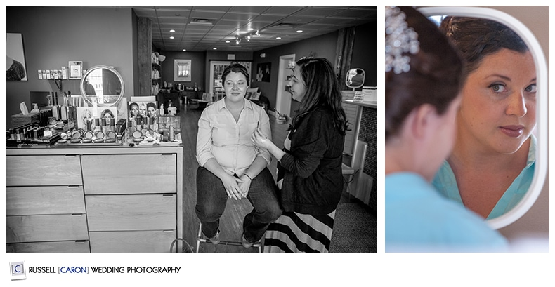 Bride getting ready at Camden Maine salon