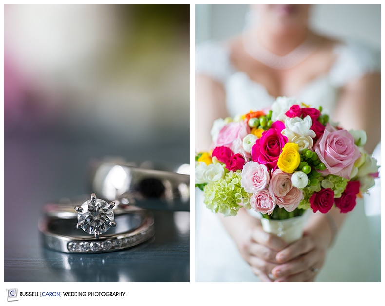 Wedding day detail photos, wedding rings and bridal bouquet