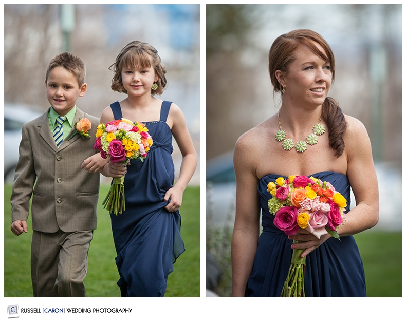 Flower girl and ring bearer at Camden Maine Amphitheater