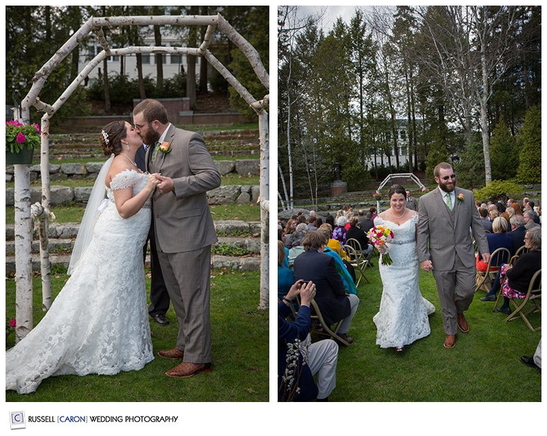 Bride and groom during first kiss and during recessional at the Camden Maine Amphitheater