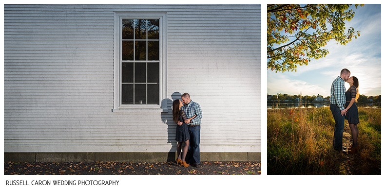 Engagement session in Dock Square, Kennebunkport
