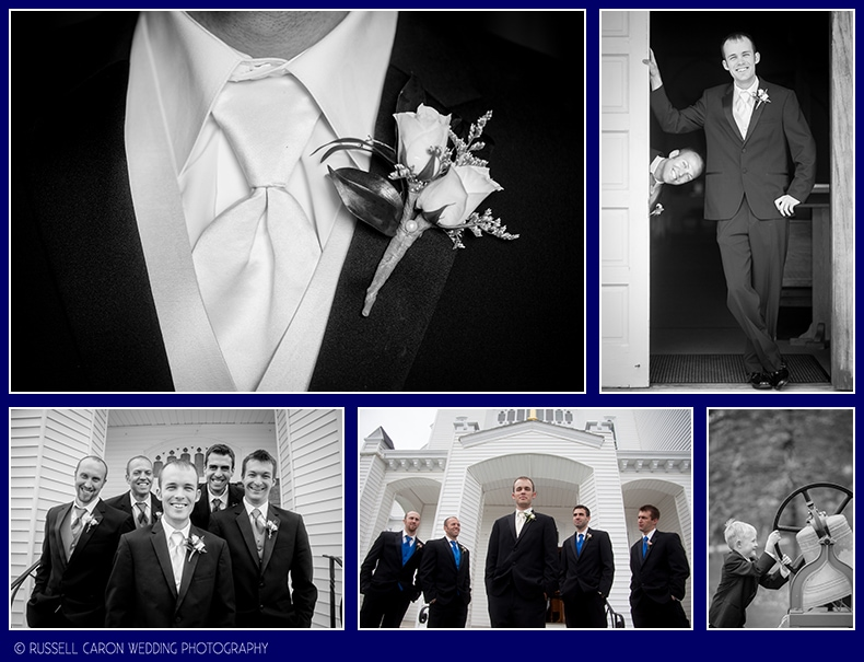 Groom and groomsmen at Our Lady Queen of Peace Church, Boothbay Harbor, Maine