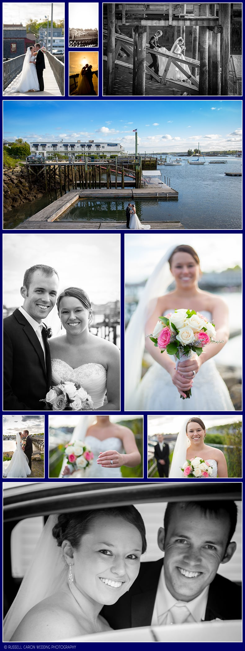 Bride and groom photos in Boothbay Harbor