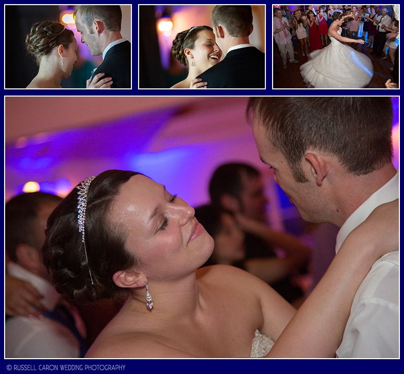 Bride and groom during wedding day first dance at The Spruce Point Inn