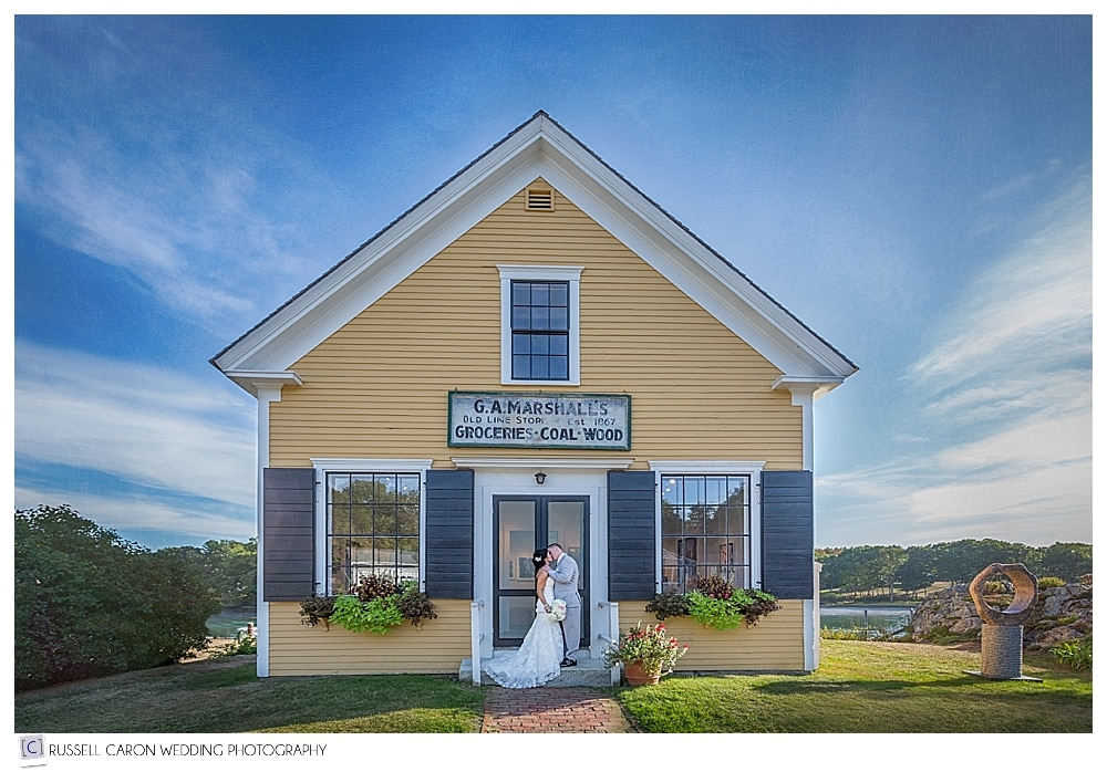 #3 of the top artistic wedding photography of 2016, Laurie and Shawn in front of an art gallery in York Harbor, Maine