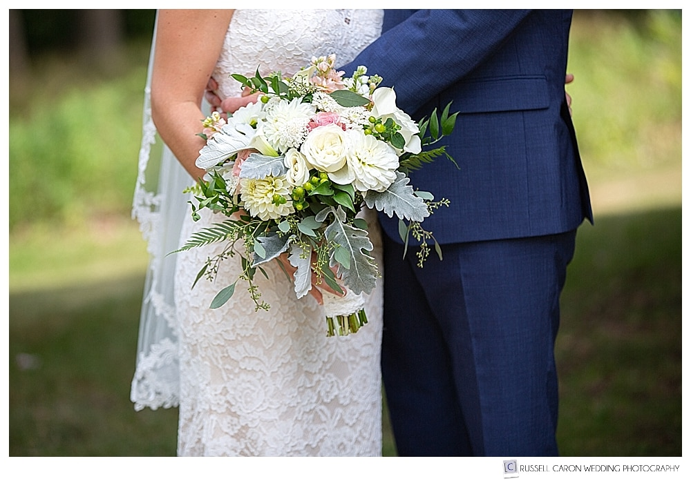 brides bouquet from cottage flowers, Bar Harbor, Maine
