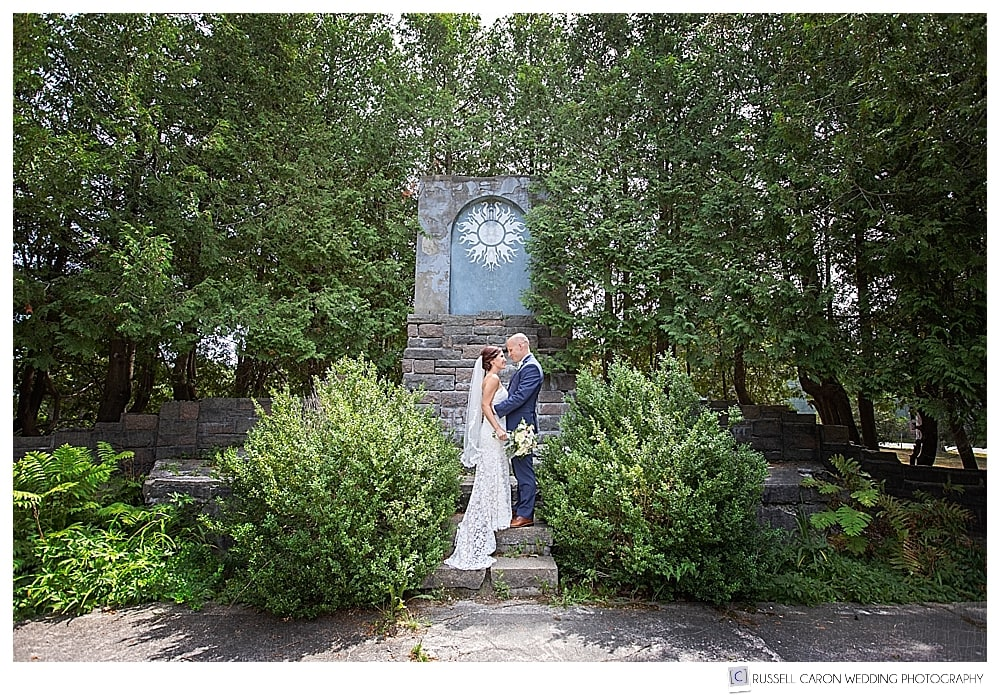 bride and groom at College of the Atlantic, Bar Harbor, Maine