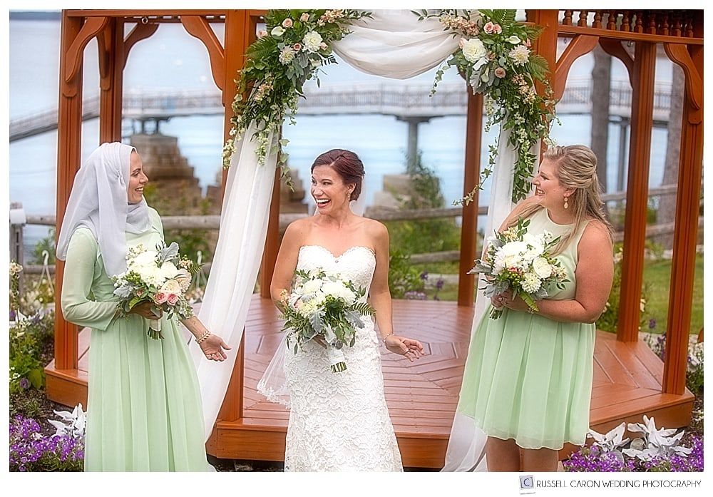 bride and bridesmaids in front of the gazebo at the Atlantic Oceanside Resort, Bar Harbor, Maine