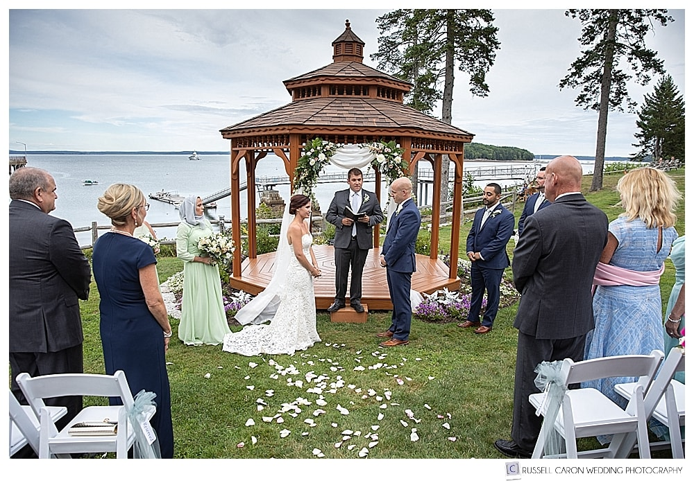 outdoor wedding ceremony on the lawn at the Atlantic Oceanside Resort, Bar Harbor, Maine