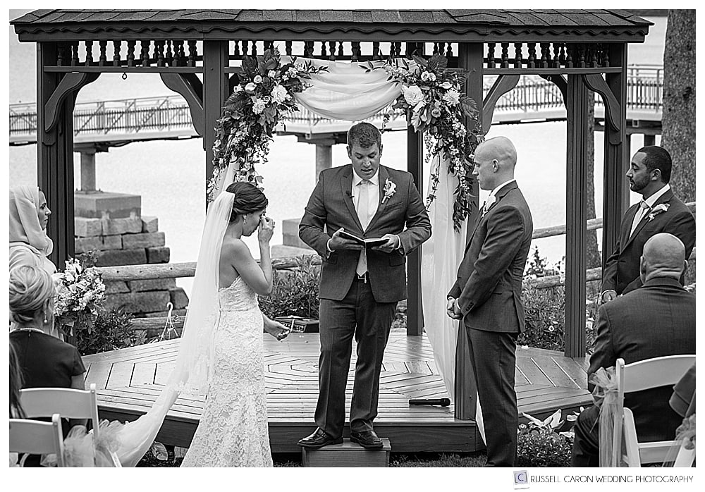 black and white photo of an Atlantic Oceanside Bar Harbor wedding, at the gazebo, Bar Harbor, Maine