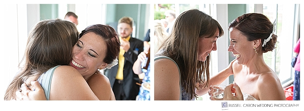 bride greets friends during cocktail hour at her bar harbor wedding