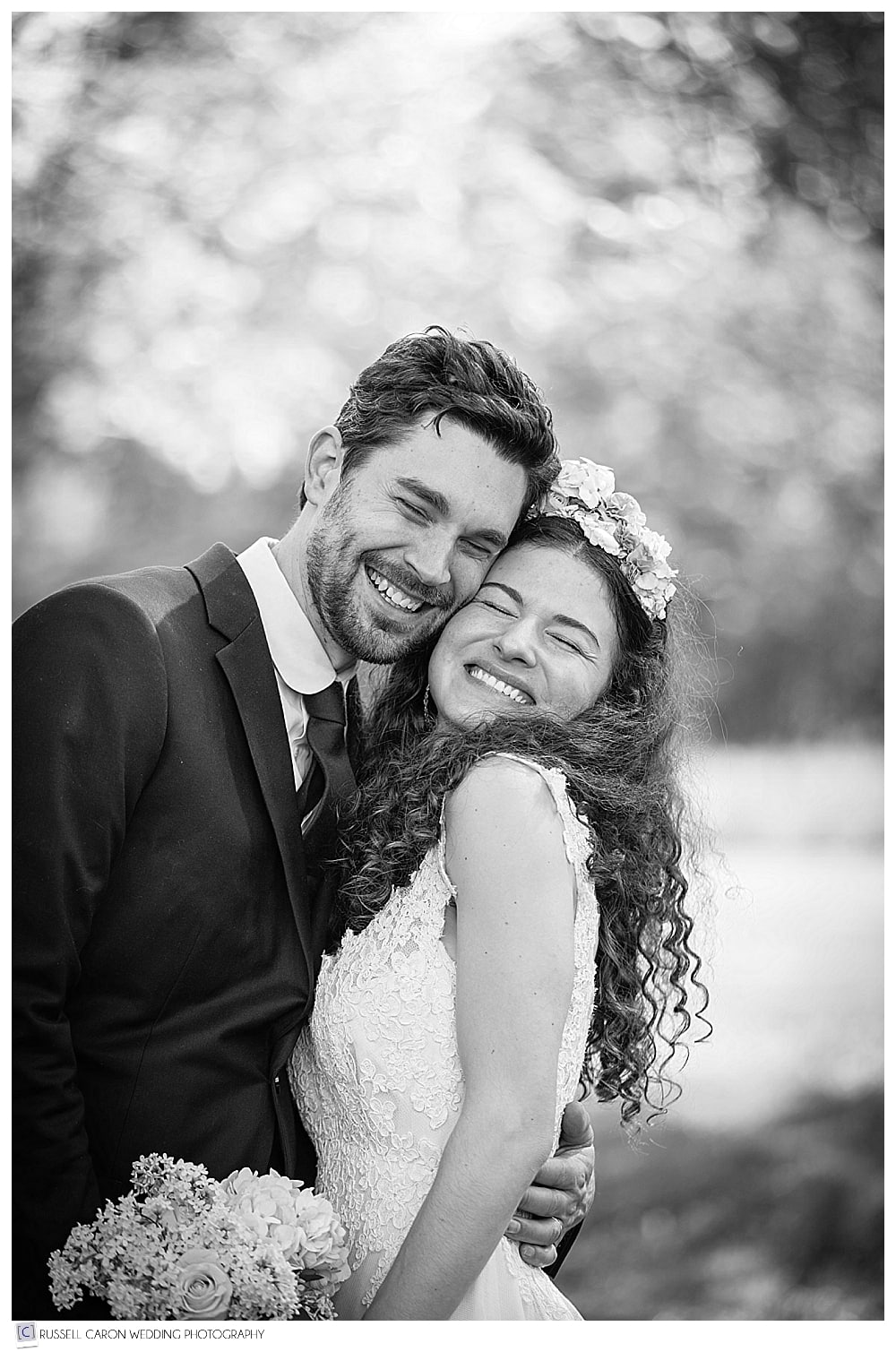 Joyous bride and groom on their wedding day at Shady Lane Farm, New Gloucester, Maine. Our #6 Best Maine Wedding Photos 2017