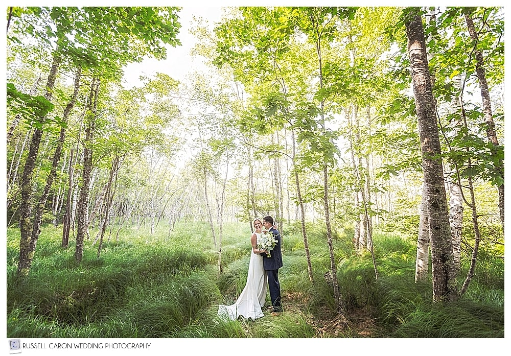 A dreamy Bar Harbor wedding photo of a bride and groom in Acadia National Park, #15 in our Best Maine wedding photos 2017