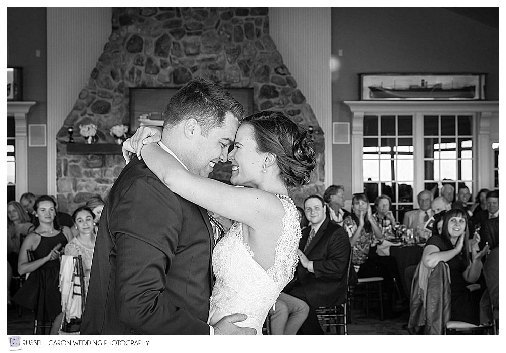In a joyful wedding photo, Anna and Chris beam at each other during their first dance at Point Lookout, Northport, Maine. #17 in our best wedding photos 2017.