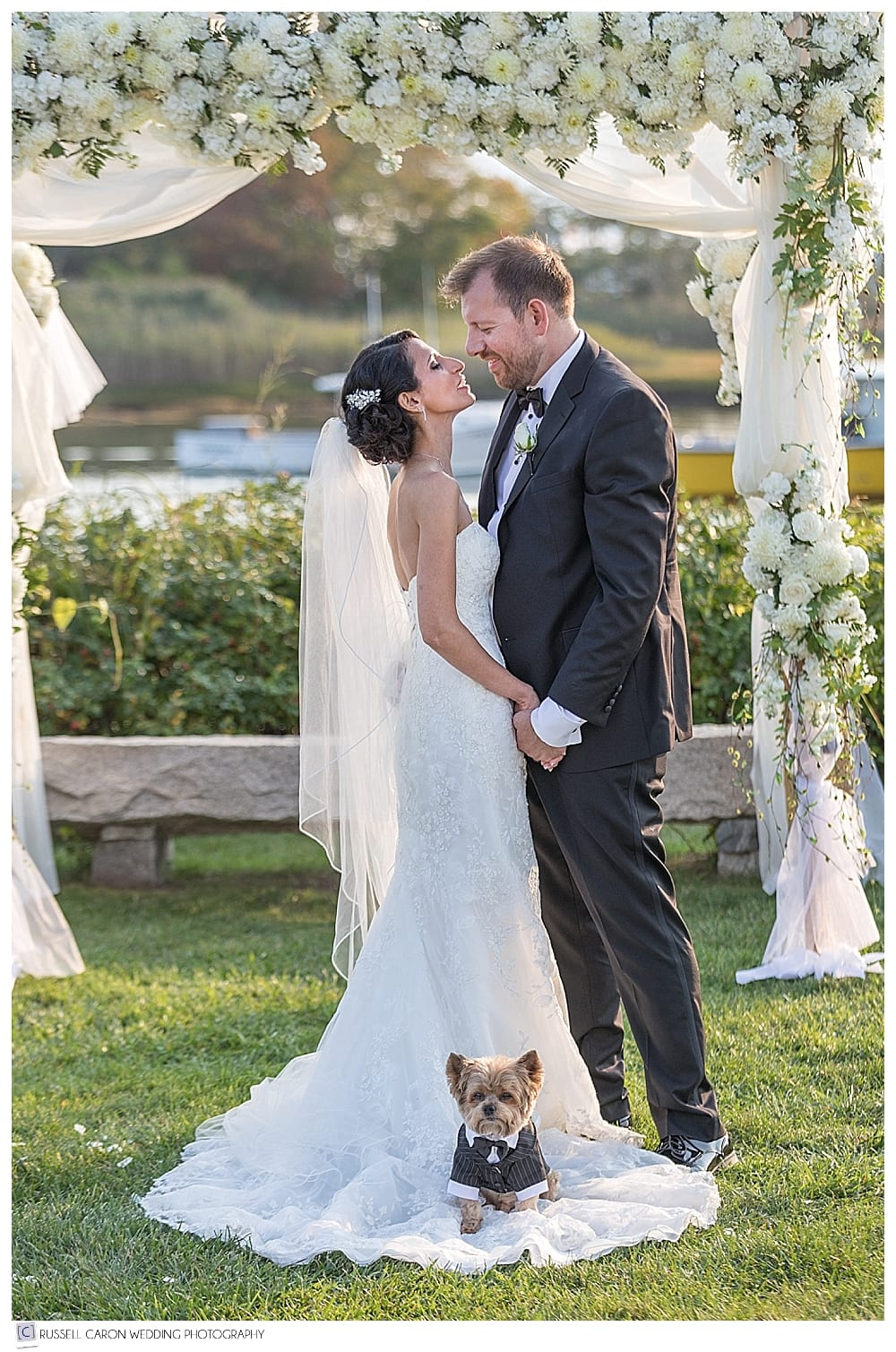 Charming wedding photo of bride and groom, with dog on bride's train.