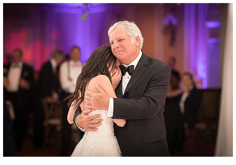 A sweet father-daughter dance photo of Perri and her father at her Samoset Resort Wedding, Rockport, Maine. Our #4 Best Maine Wedding Photos, 2017