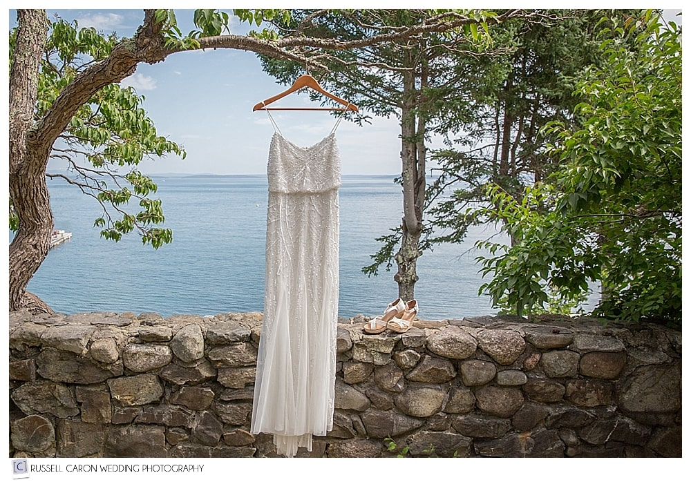 wedding dress hanging on a branch