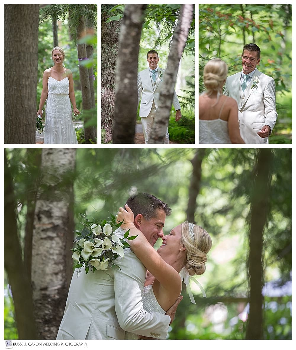 wedding day first look bar harbor maine wedding photographers