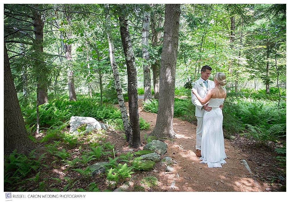 bride and groom in acadia national park bar harbor maine