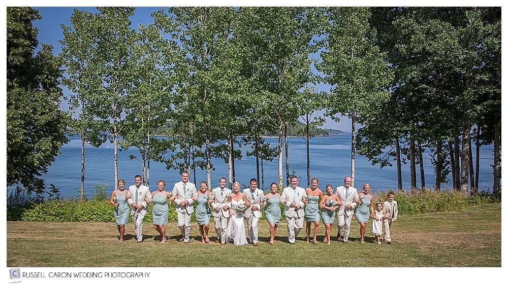 bridal party at the Turrets at College of the Atlantic Bar Harbor maine