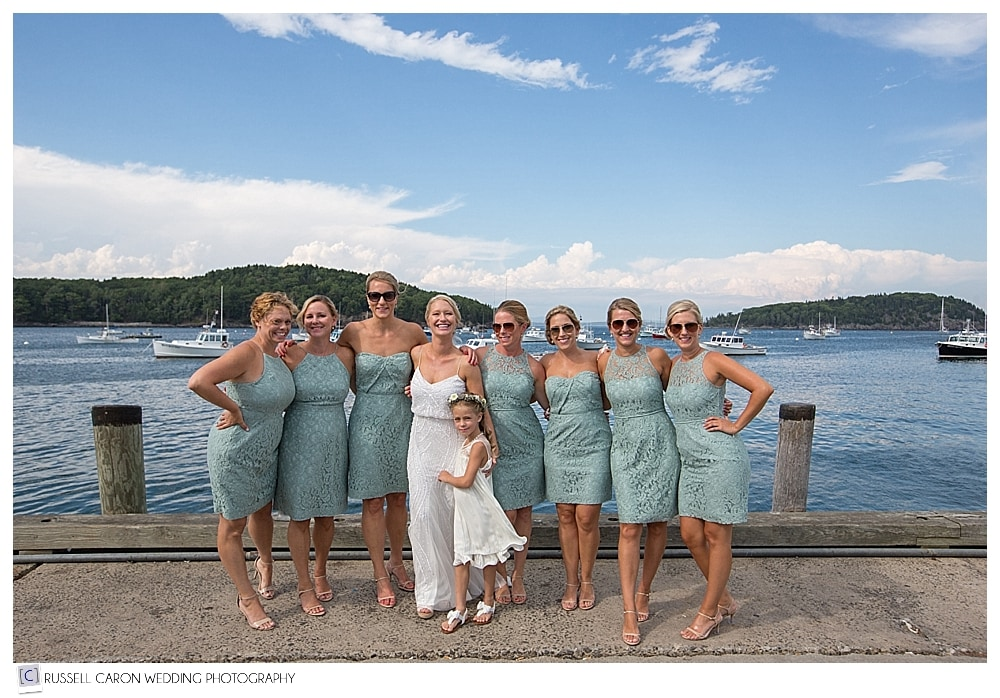 bride and bridesmaids in bar harbor maine