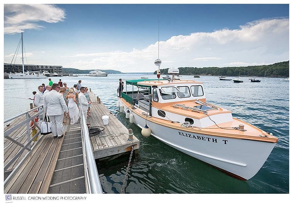 bridal party boarding boat in bar harbor maine