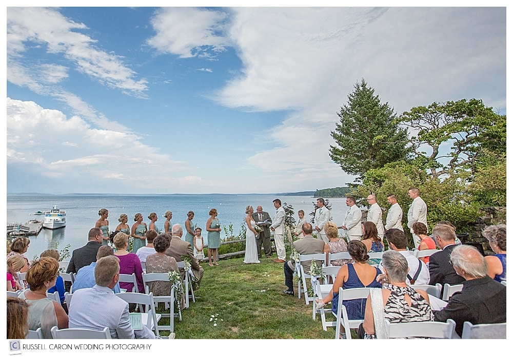 atlantic oceanside wedding ceremony on the lawn bar harbor maine