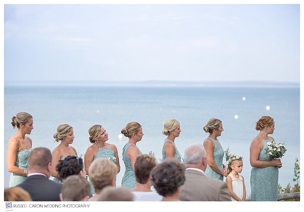 bridesmaids during wedding ceremony