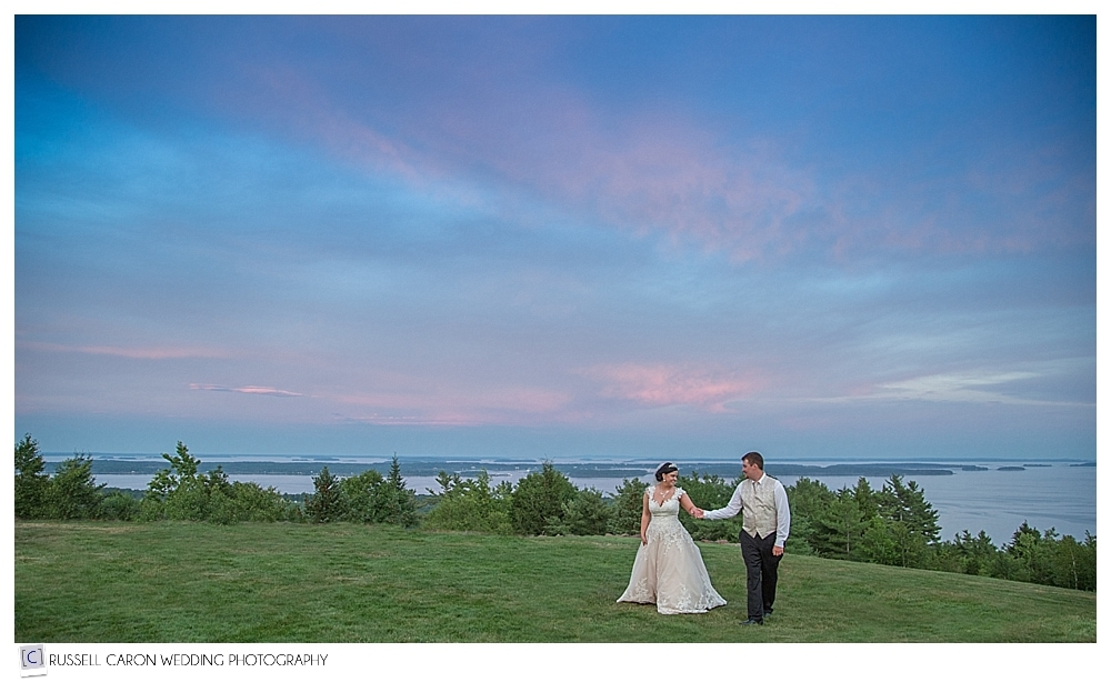 Bride and groom during sunset at Point Lookout Maine wedding