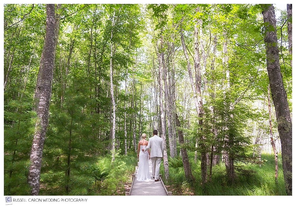 bride and groom walking on jesup trail acadia national park bar harbor maine
