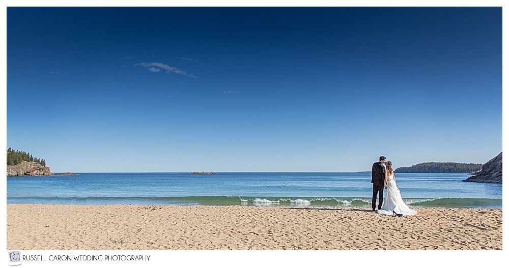 bride and groom on Sand Beach Acadia National Park Bar Harbor Maine