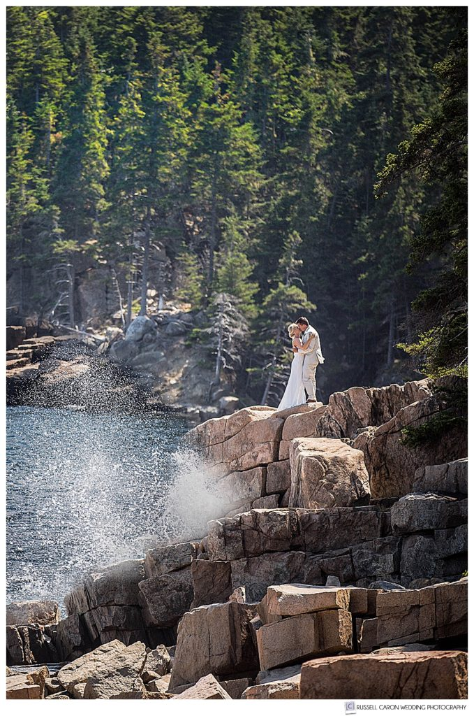 bride and groom photographed in Acadia National Park, Bar Harbor, Maine