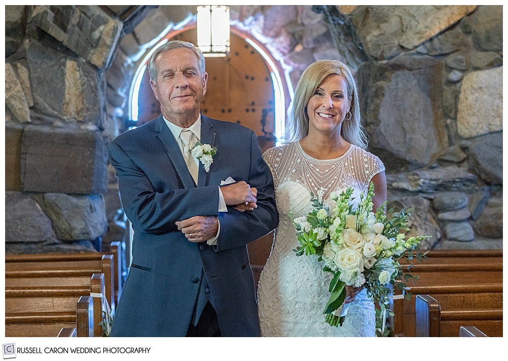 bride and her father walking down the aisle of Saint Ann's Episcopal Church, Kennebunkport, Maine