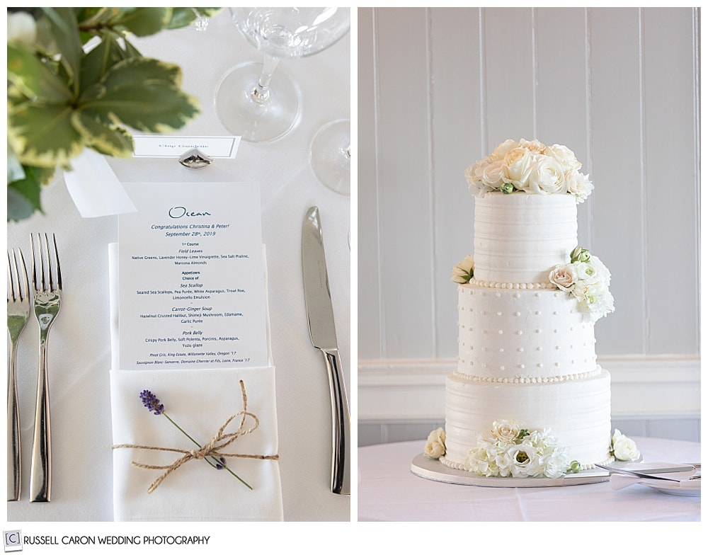 side by side photos of a wedding cake and place setting at a Cape Arundel Inn wedding reception, Kennebunkport, Maine