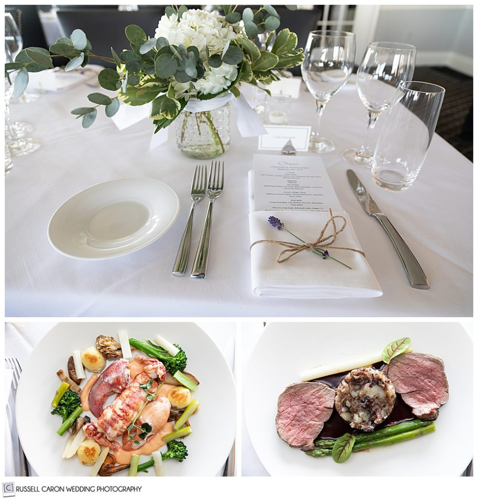 food and table setting at a Cape Arundel Inn wedding reception, Kennebunkport, Maine