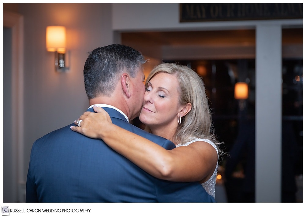 bride and groom during their first dance at a Cape Arundel Inn wedding reception, Kennebunkport, Maine