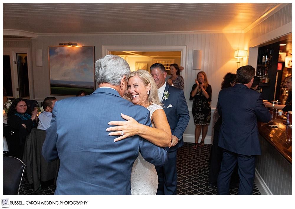 bride dancing with her father during a Cape Arundel Inn wedding reception in Kennebunkport, Maine