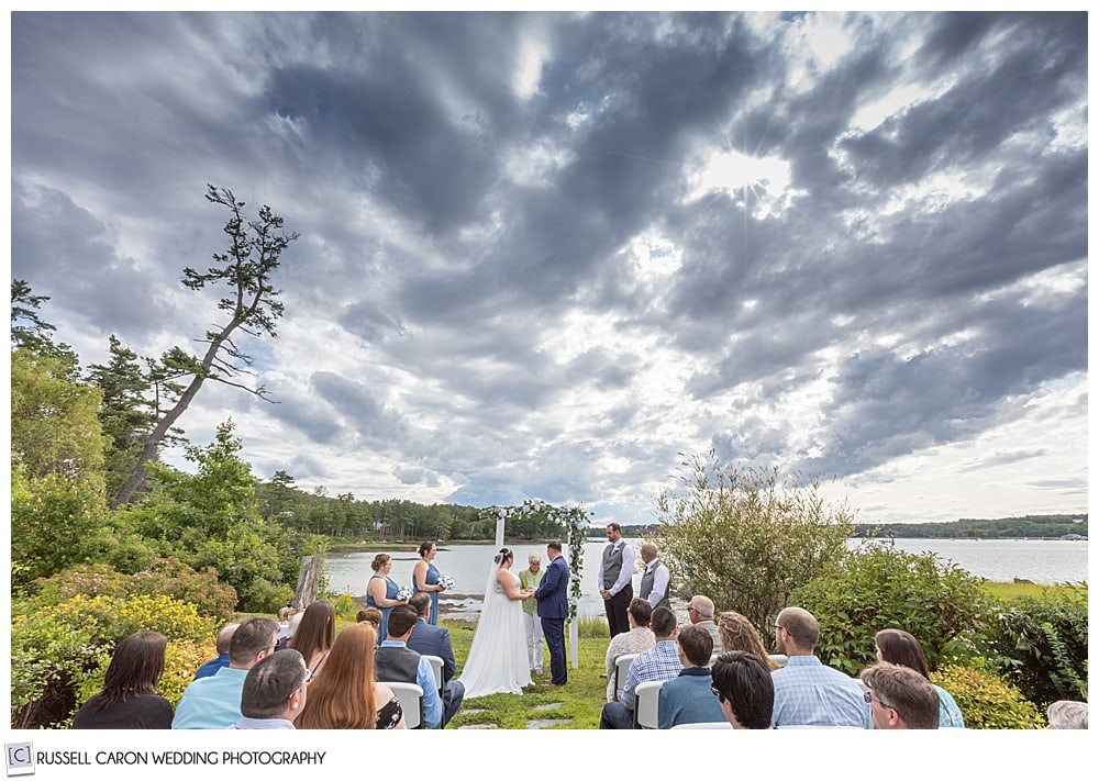 outdoor wedding ceremony at the Sheepscot Harbour Village Resort, Edgecomb, Maine