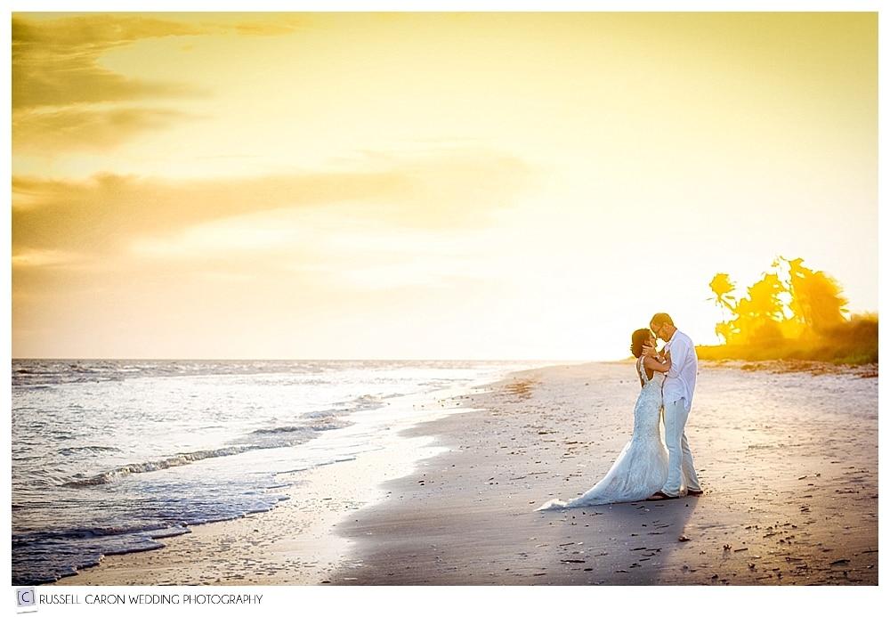#10 gorgeous wedding photos of 2016, Stacia and Jeff embracing on the beach at Casa Ybel, Sanibel Island, Florida