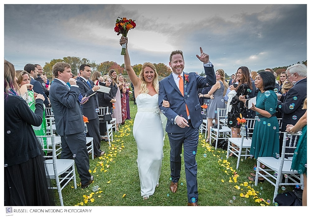 Amanda and Ryan are #7 in our joyous wedding moments of 2016 during their recessional at the Nonantum Resort in Kennebunkport