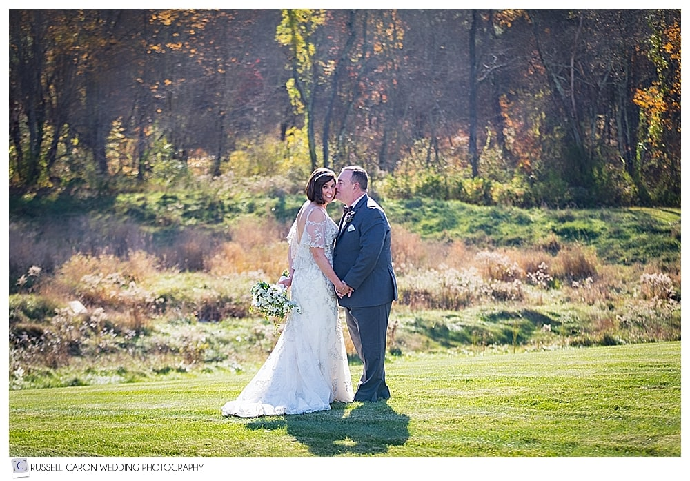 bride and groom in the fall foliage at LaBelle Winery wedding
