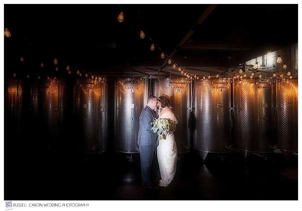 bride and groom in the winery at LaBelle Winery